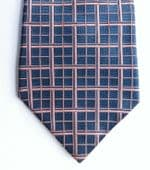 Austin Reed silk tie pink and navy blue woven check pattern IMPERFECT